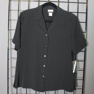NWT Kim Rogers Black Collared Blouse - Medium